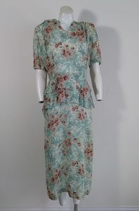 1940s novelty print sheer rayon nylon peplum dress